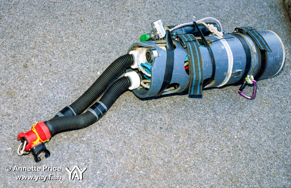 Rick Stanton's homemade rebreather. Wookey Hole exploration.
