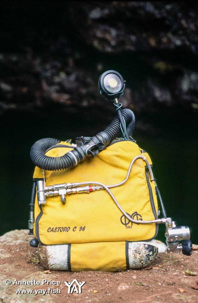 John Volanthen's modified military rebreather. Wookey Hole Cave.