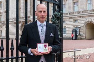 Rick Stanton receives the George Medal for his part in the rescue of 12 boys and their football coach from a flooded cave in Thailand in 2018.