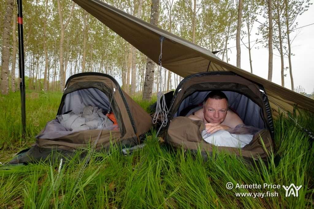 Wild camping along the river bank. River Dordogne, France.